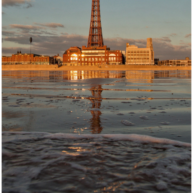 """""""Blackpool Tower as the sun sets"""" stock image"""