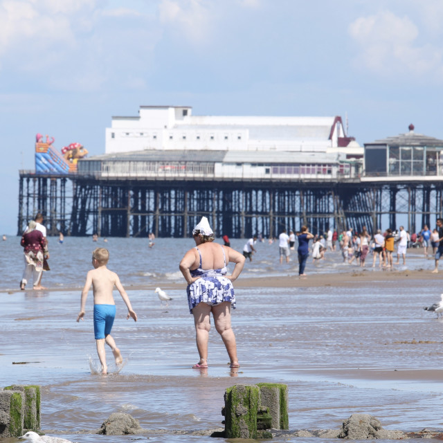 """""""Great family fun at the seaside"""" stock image"""