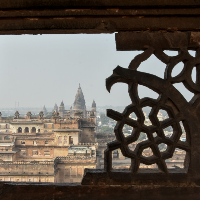 """a picture of the panorama of Orchha in a setting of medieval castles"" stock image"