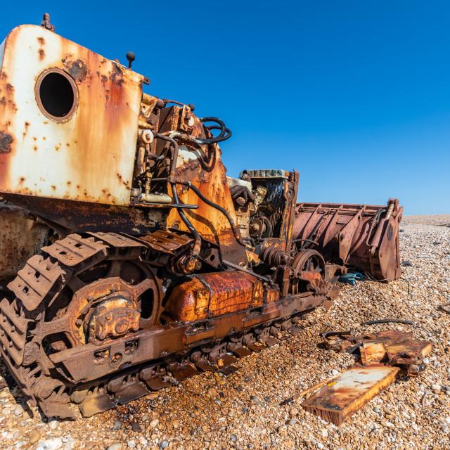 """Rusty Bulldozer, Dungerness, Kent"" stock image"