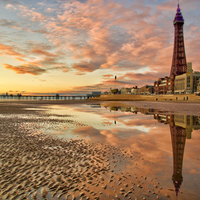 """""""A Blackpool reflection"""" stock image"""