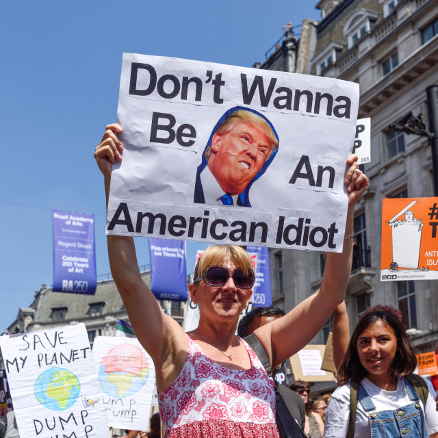 """Anti-Trump Protest March in London, UK"" stock image"