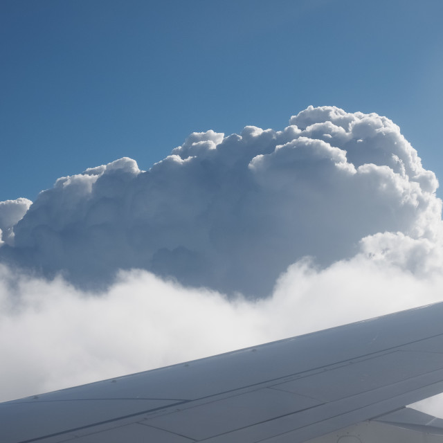"""""""blue sky with clouds seen from plane"""" stock image"""