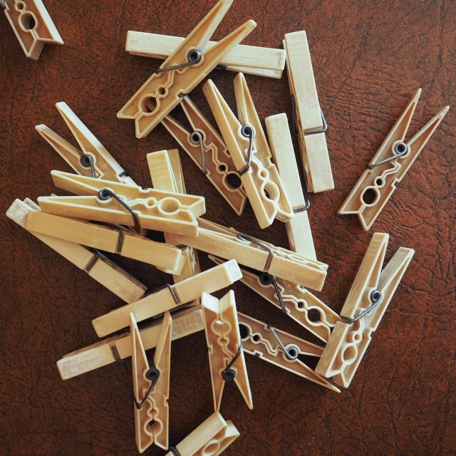"""""""many clothespin pegs"""" stock image"""