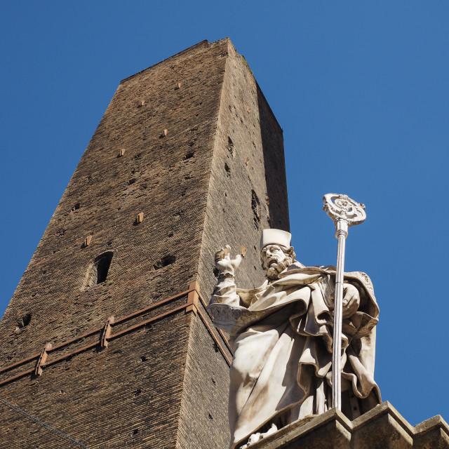 """""""San Petronio statue in Bologna"""" stock image"""