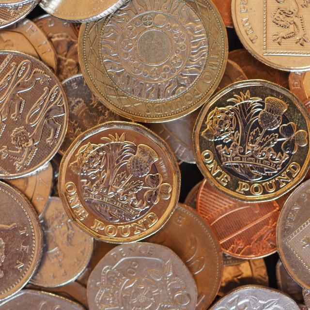 """Pound coins, United Kingdom background"" stock image"