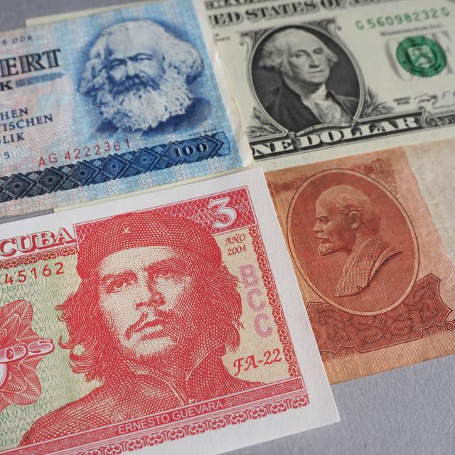 """""""Marx, Washington, Che Guevara and Lenin"""" stock image"""