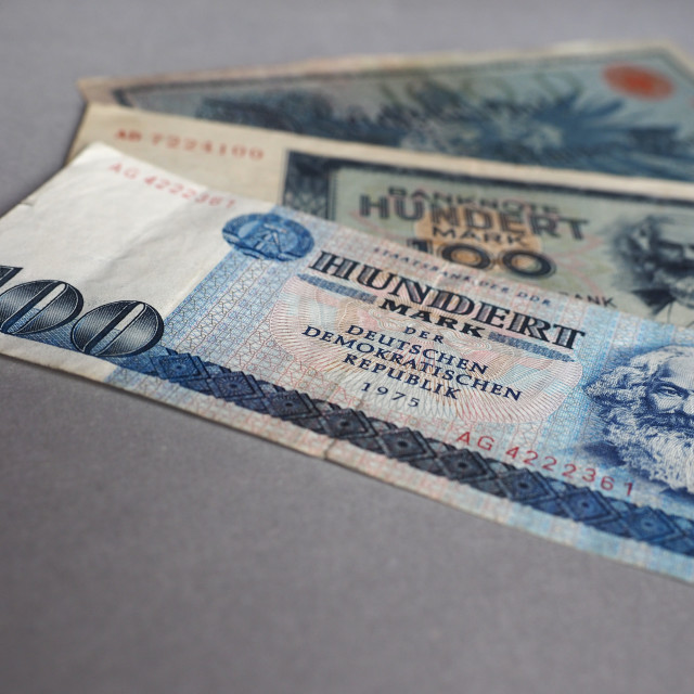 """""""Vintage withdrawn banknotes of DDR and German Empire"""" stock image"""