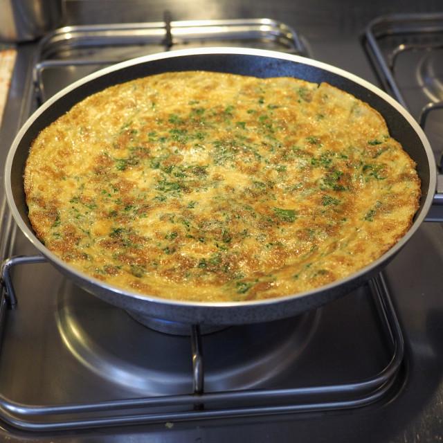 """""""omelette made from fried beaten eggs"""" stock image"""