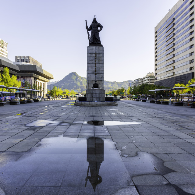 """""""Seoul,South Korea - April 27,2019: Gwanghwamun Plaza with the statue of the Admiral Yi Sun-sin and modern buildingson morning time. Many people visit and tour. best landmark in Seoul , South Korea."""" stock image"""