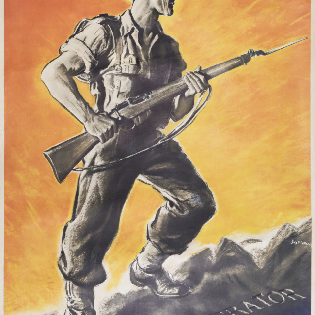 """The Liberator, Reprint of British wartime Poster"" stock image"