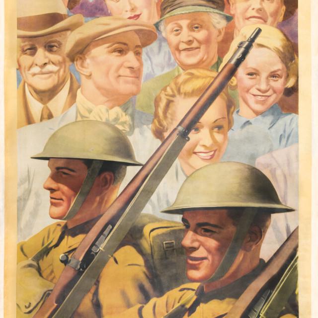 """Keep on Saving. Reprint of British wartime poster."" stock image"