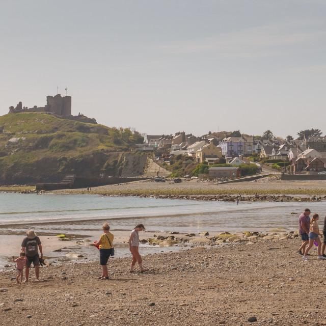 """Criccieth beach and castle"" stock image"