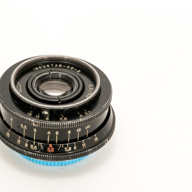 """Industar-50-2 50mm F/3.5 lens"" stock image"