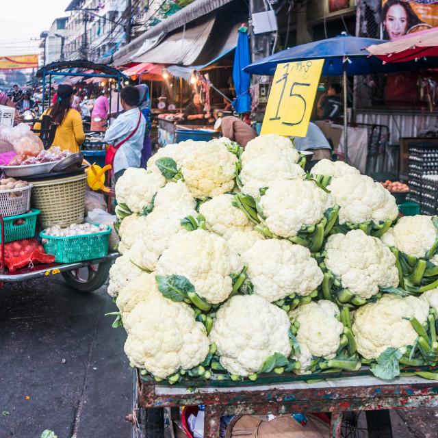 """Cauliflowers on the market."" stock image"