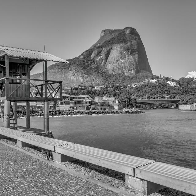 """Lifeguard Cabin with Gávea Stone"" stock image"