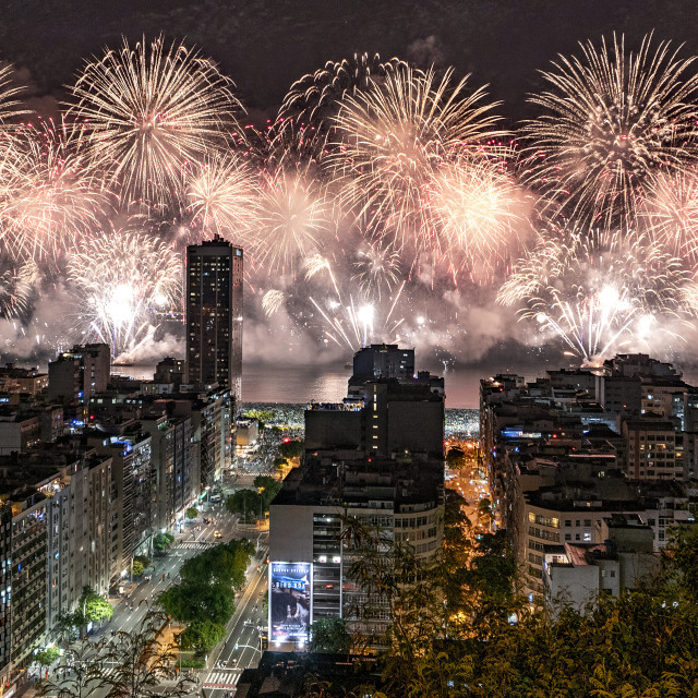 """""""New Year's Fireworks in Copacabana"""" stock image"""