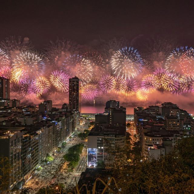 """Copacabana New Year's Fireworks"" stock image"