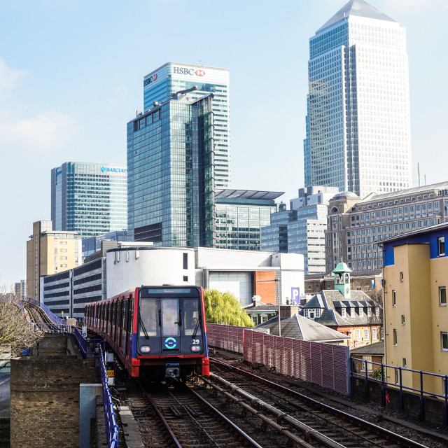 """""""Canary Wharf, London - 24th March: Buildings including HSBC Bank headquarters..."""" stock image"""