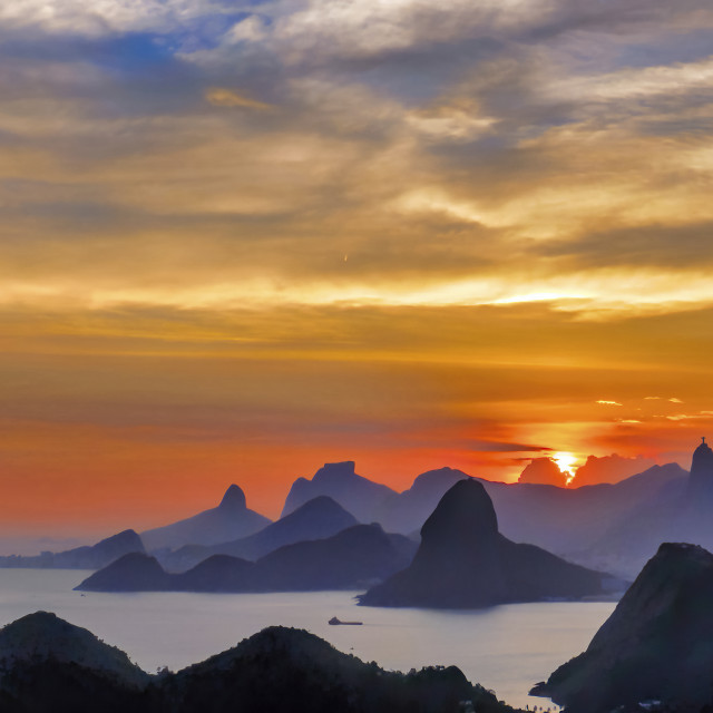 """""""Sunset viewed from City Park in Niterói"""" stock image"""