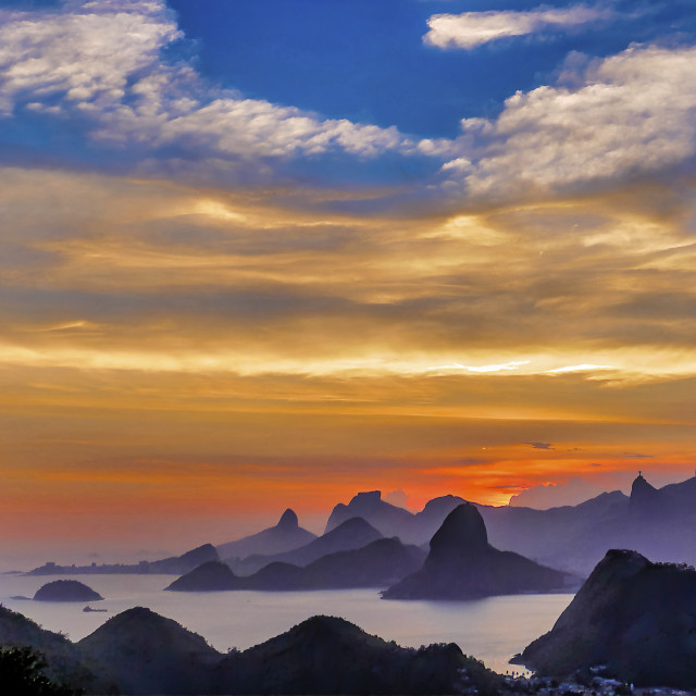 """""""Sunset with Rio's Hills"""" stock image"""