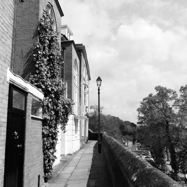 """""""Chester City Walls, overlooking the Groves."""" stock image"""