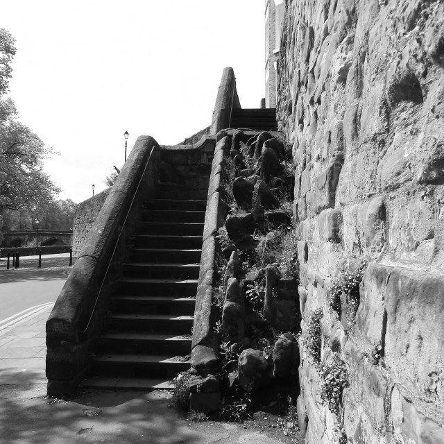 """""""Steps up to the City  Walls, from The Groves, Chester."""" stock image"""