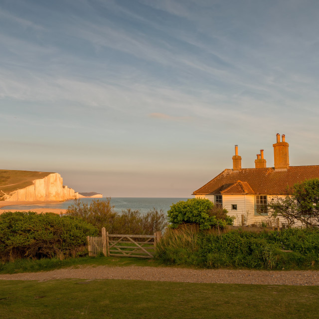 """Sunset at the Coastguard Cottages, Seaford"" stock image"