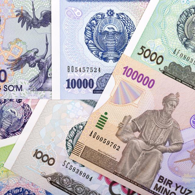 """""""Full set of Uzbekistan money, a background"""" stock image"""