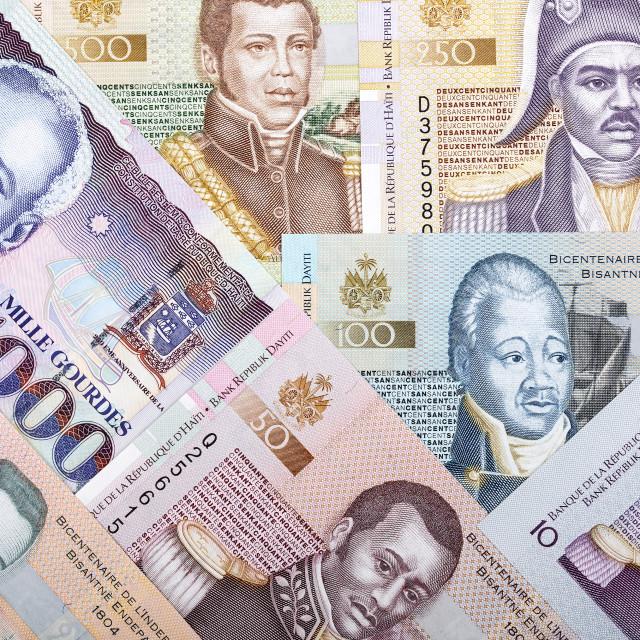 """Full set of Haitian money, a background"" stock image"