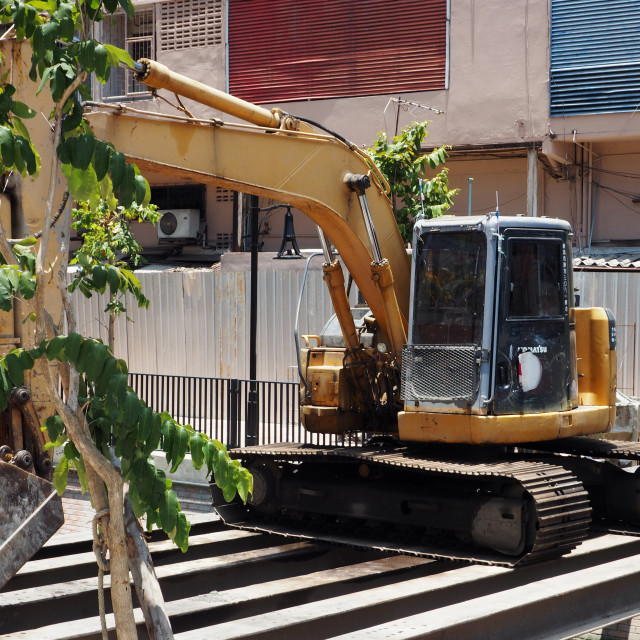 """""""Crawler excavator at a construction site"""" stock image"""