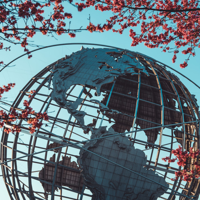 """""""Unisphere monument in Queens, NY in spring"""" stock image"""