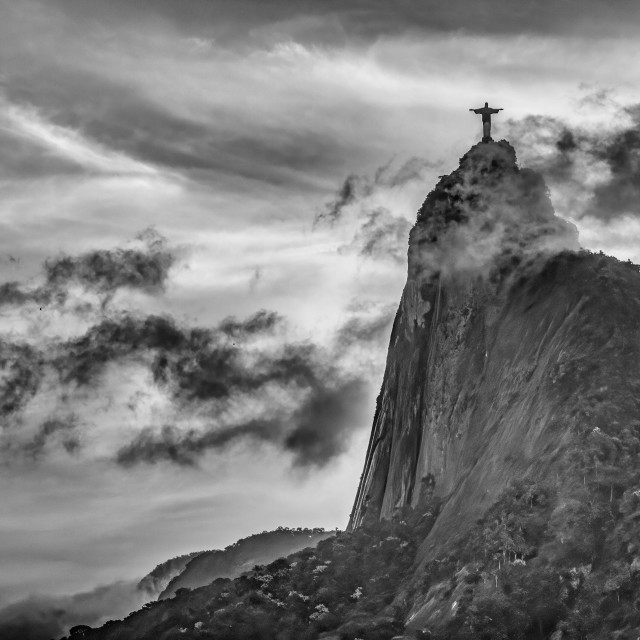 """""""Dramatic Sunset With Christ The Redeemer"""" stock image"""