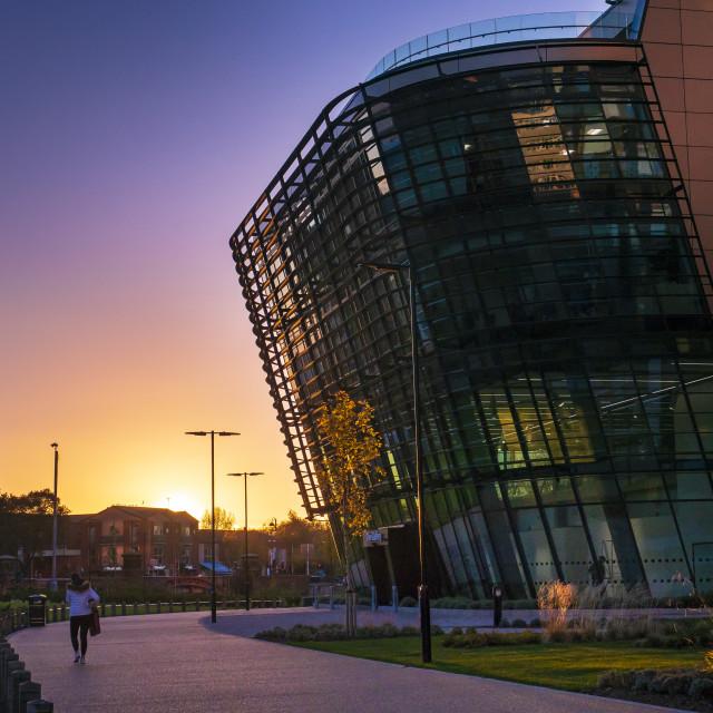 """Sunset at the Vijay Patel Building"" stock image"