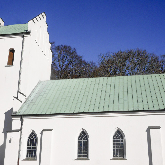 """""""White church with green roof"""" stock image"""