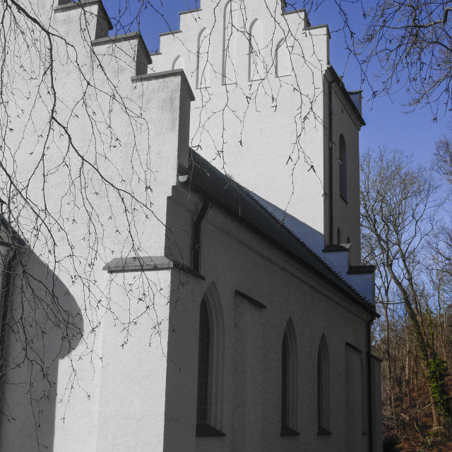 """""""White church with shadow"""" stock image"""