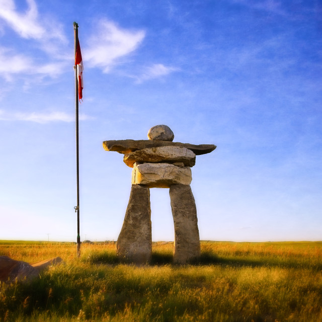 """An Inuksuk on the Prairies"" stock image"