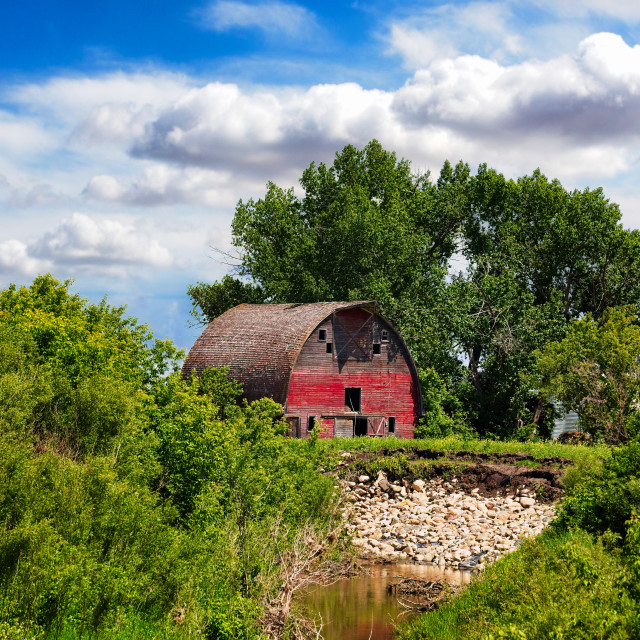 """""""The old red barn"""" stock image"""