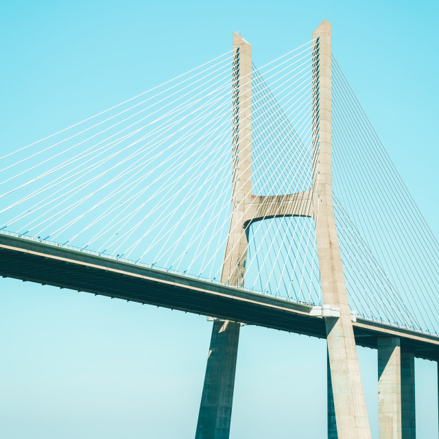 """Architectural Details Of 25 de Abril Bridge (25th April Bridge) In Lisbon Portugal"" stock image"