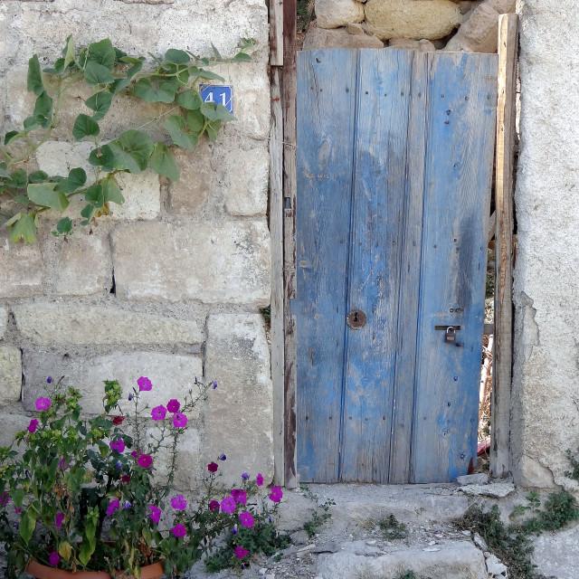 """Blue painted door, Cappadocia, Turkey"" stock image"