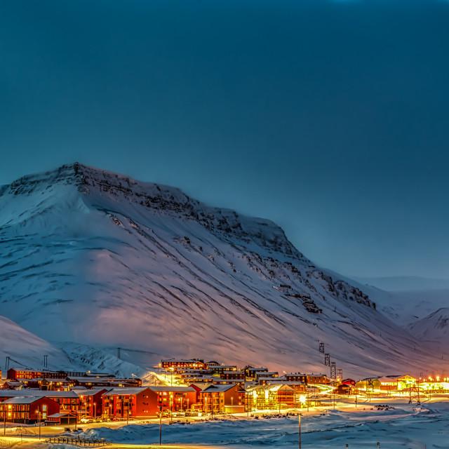 """Evening in Longyearbyen"" stock image"