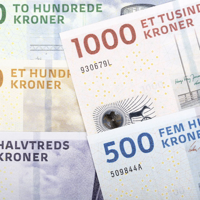 """Danish kroner, a business background"" stock image"