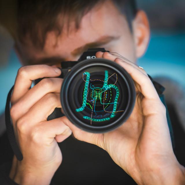 """""""Photographer shooting lights"""" stock image"""