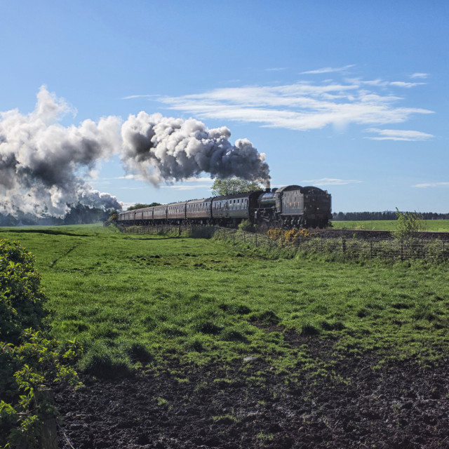 """""""Steam train leaving Stranraer"""" stock image"""