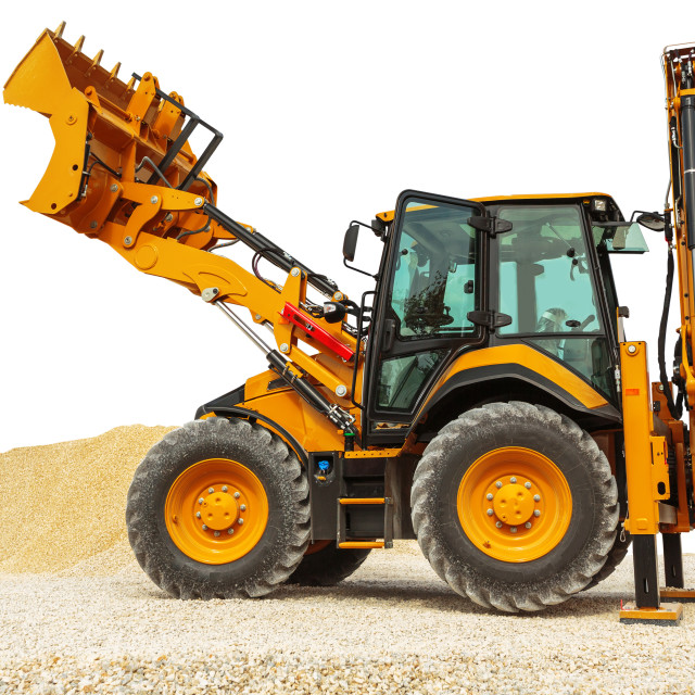 """Backhoe loader or bulldozer - excavator isolated with clipping p"" stock image"