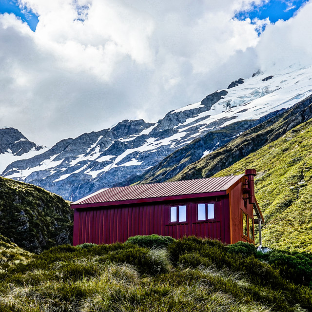 """Liverpool Hut, Mt Aspiring National Park"" stock image"