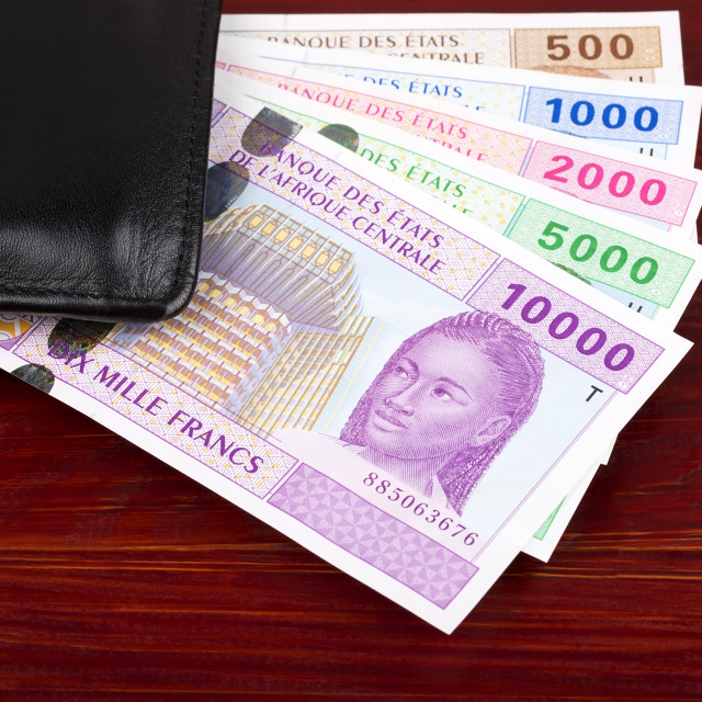 """Central African money in the black wallet"" stock image"