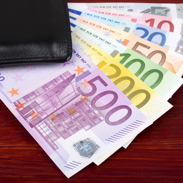 """European money in the black wallet"" stock image"