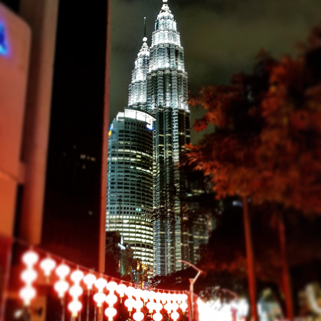 """Petronas Twin Towers at night time"" stock image"