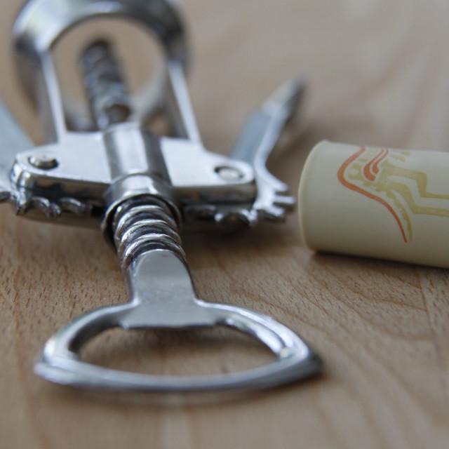 """Corkscrew and Cork"" stock image"